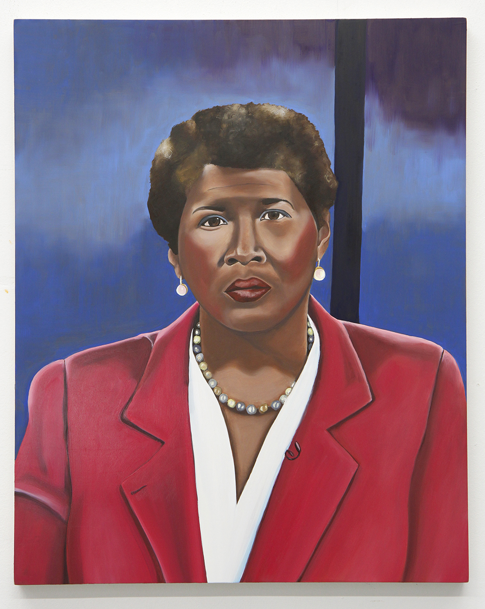 Emily Roz, Gwen Ifill, from the series Anchors, 2018, oil on panel, 20 x 16 inches