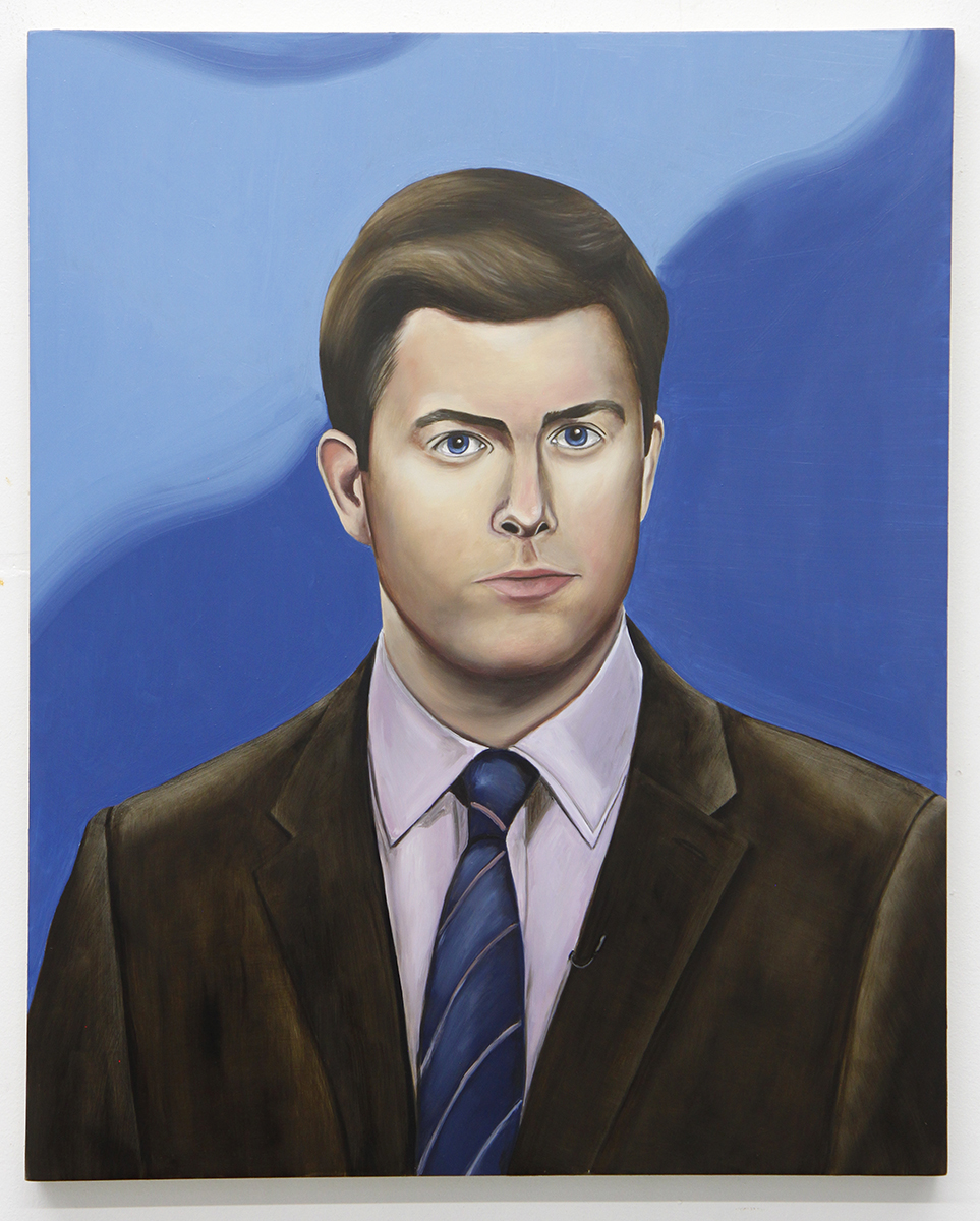 Emily Roz, Colin Jost, SNL Weekend Update, 2018, oil on panel, 20 x 16 inches