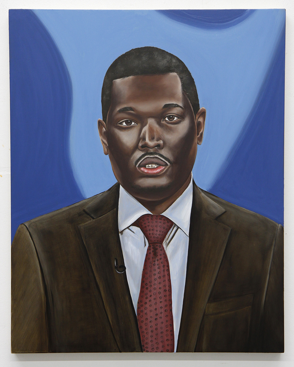 Emily Roz, Michael Che, SNL Weekend Update, 2018, oil on panel, 20 x 16 inches