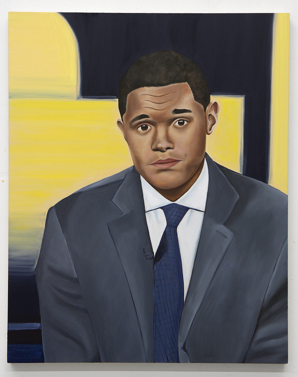 Emily Roz, Trevor Noah, The Daily Show, 2018, oil on panel, 20 x 16 inches