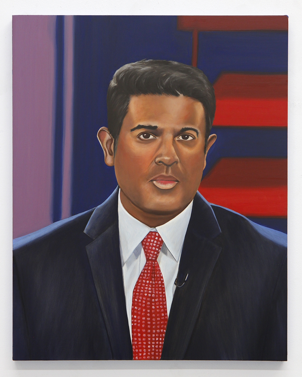 Emily Roz, Hari Sreenivasan, PBS, oil on panel, 20 x 16 inches