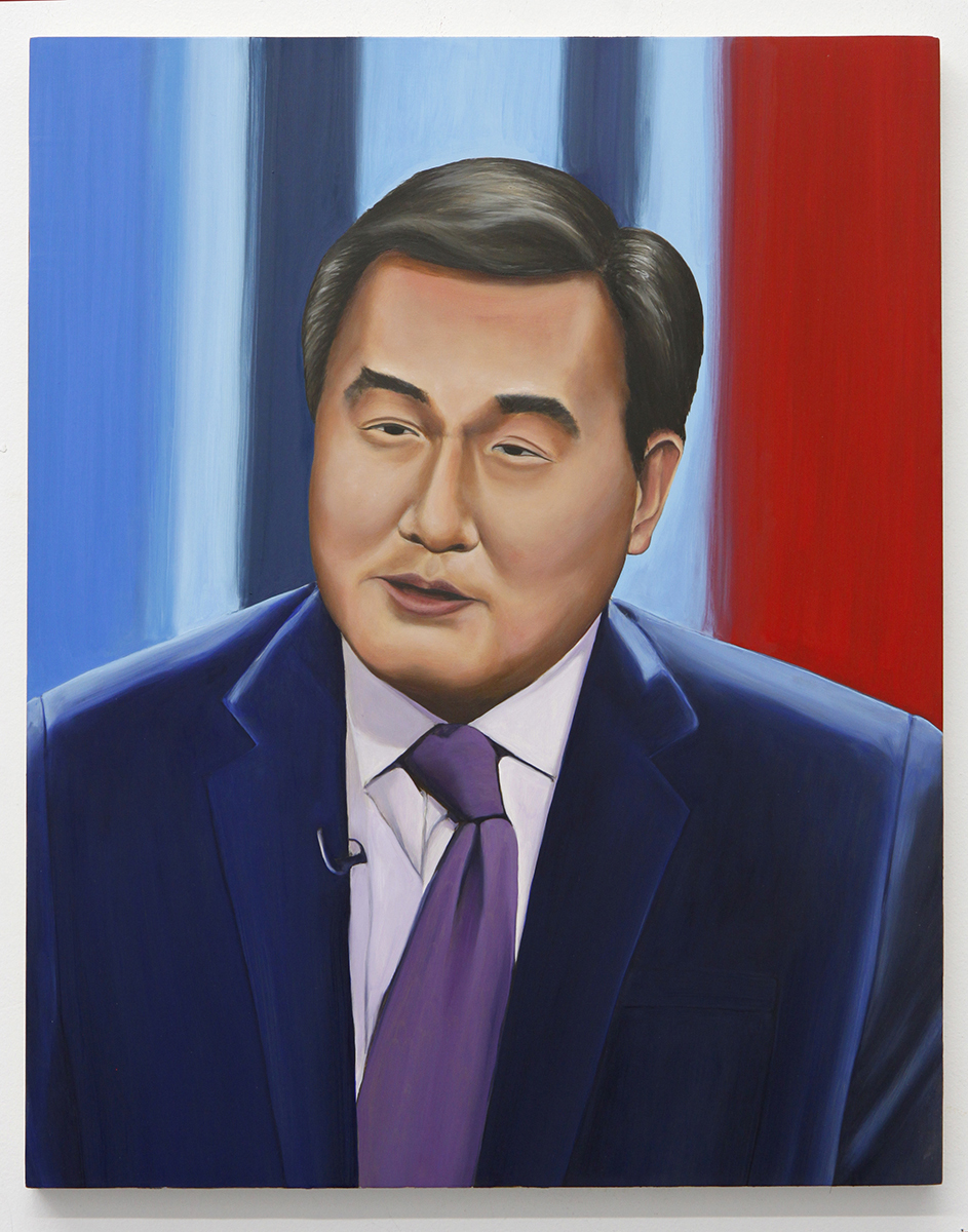 Emily Roz, John Yang, PBS News Hour, oil on panel, 2018