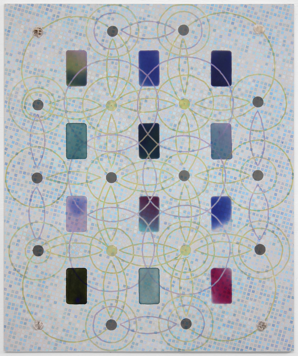 "Crystal Grid (Phones), 2018, Aquaresin, resin and geodes on ACM panel, 48"" x 40"""