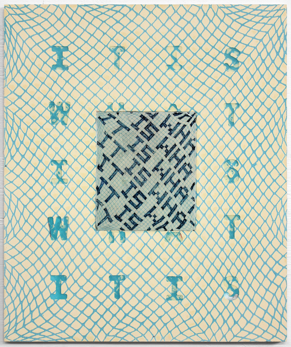 "IT IS WHAT IT IS, 2018, Resin, net and drawing on ACM panel,  24"" x 21"""