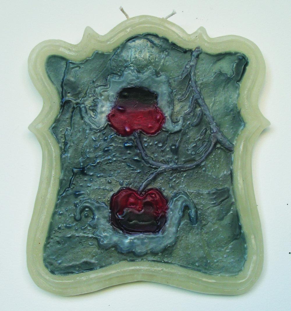 Jenna Beasley, Twinned organism, 2018, paraffin wax, 9''x12''