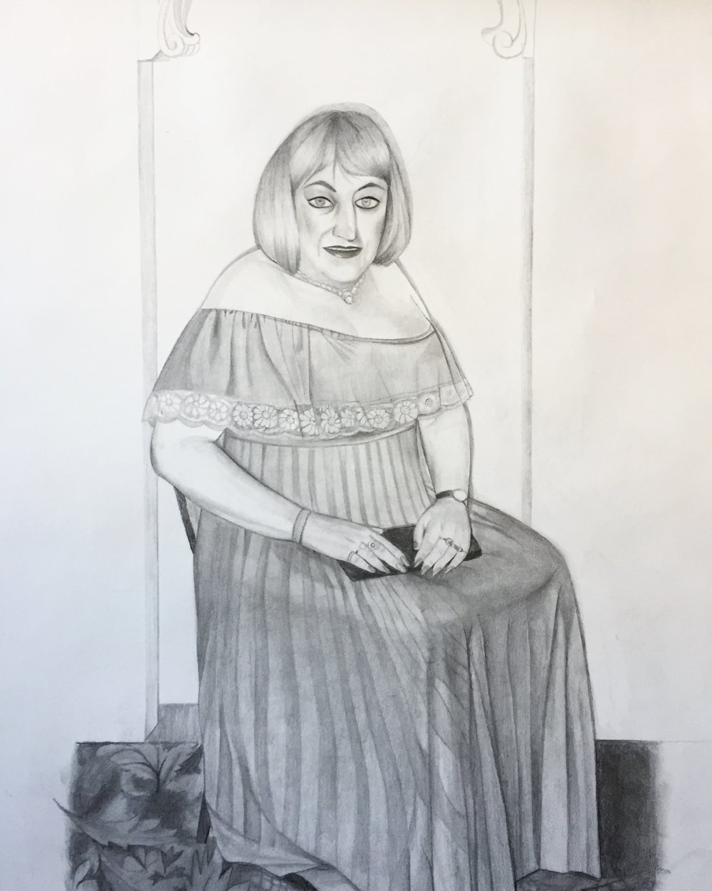 Erica Eyres, Veronica, 2018, pencil on paper, 38 x 28 inches