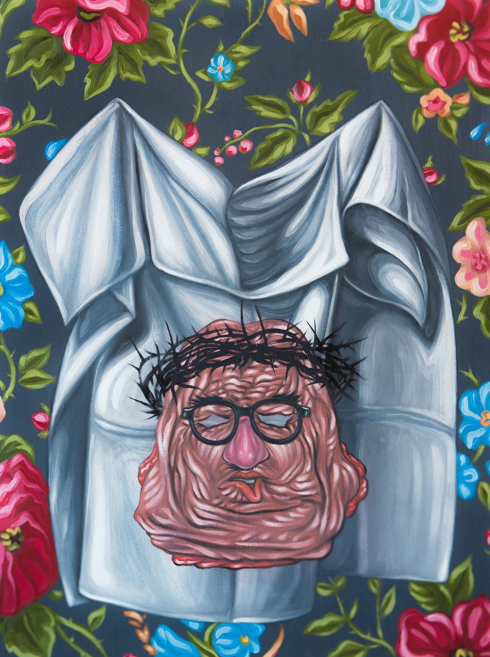 Drew Simpson, The Shroud of Skullduggery, 2019, oil on panel, 24 x 18 inches