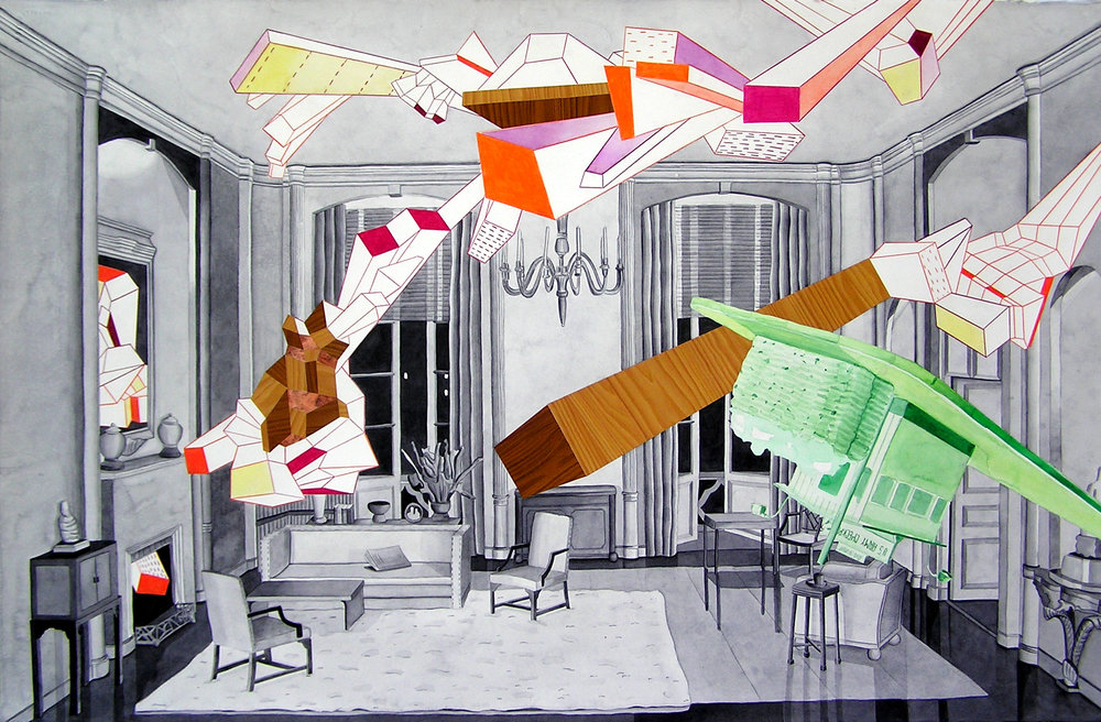 "Thorne Room #4    Watercolor, adhesive paper and colored pencil on paper  28x40"", 2007"