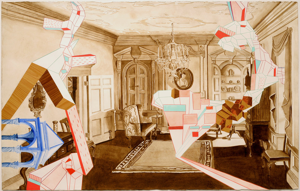 "Thorne Room #2    Watercolor, adhesive paper and colored pencil on paper  28x40"", 2007"