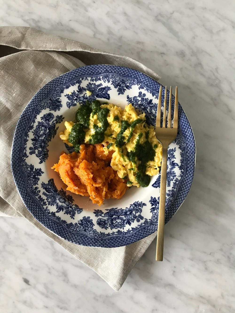 Scrambled Eggs with Pesto and Sweet potato Mash.jpg