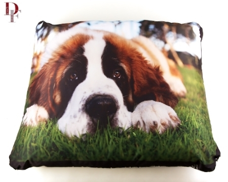 Custom photo dog bed by www.bosleybeds.com