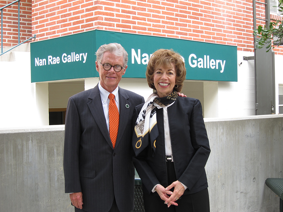 Woodbury University former president Ken Nielsen with Nan Rae in front of the Nan Rae Gallery