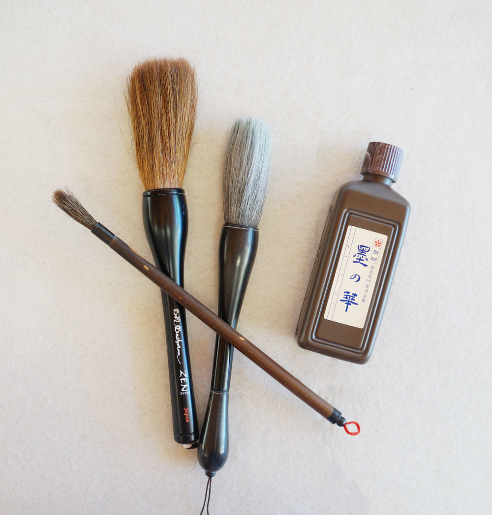 Zen Brush, Large Soft Brush, Mountain Horse Brush and Best Bottle Ink