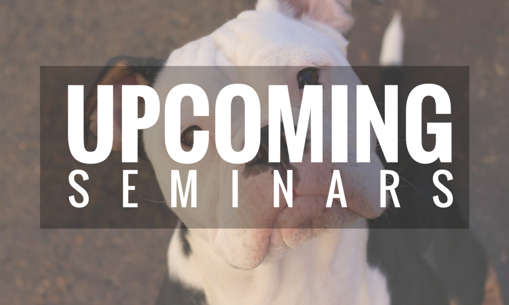 UPCOMING DOG TRAINING SEMINARS