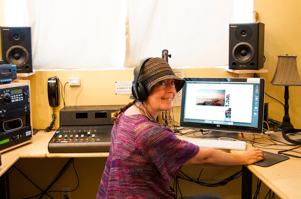 DJ Comma in the KMRD studio.  Photo by Caiti Lord