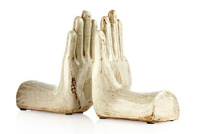 Ceramic Hand Bookends via Leah's Home Pinterest Board