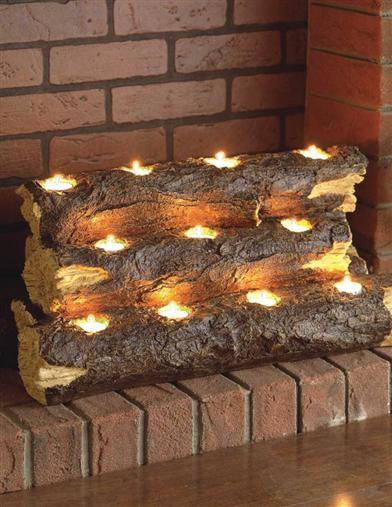 (2)  Logs 'n Lights  -D.I.Y. Driftwood + Tea Light Fireplace via  Life Hack .