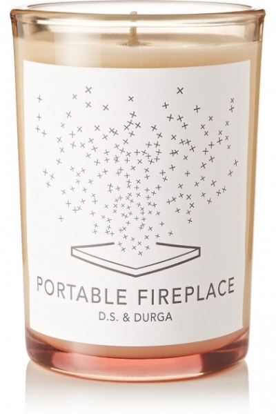 (1)  Make Scents  - Nothing's homier than the smell of burning logs in the hearth (except maybe cookies baking in the oven). Scent your small space with this Portable Fireplace candle by D.S. & Durga found via  The Glitter Guide .