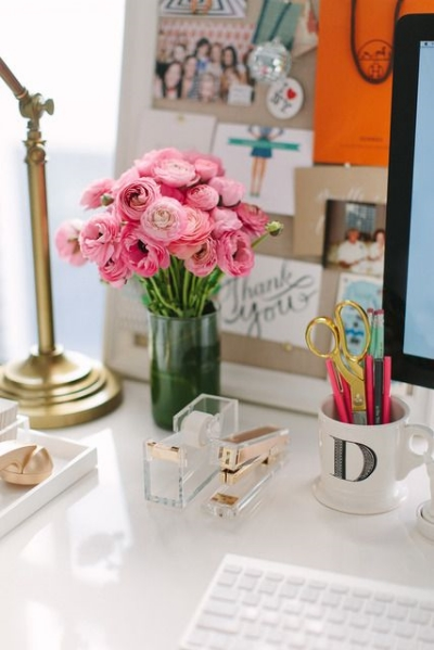 Lucite + Gold Desk Accessories, $40. Similar  here .  (Side note: This tour of  The Everygirl's  Co-founder Danielle Moss's Chicago apartment on Apartment Therapy is one of my favorites of all time. Take the full tour  here .)