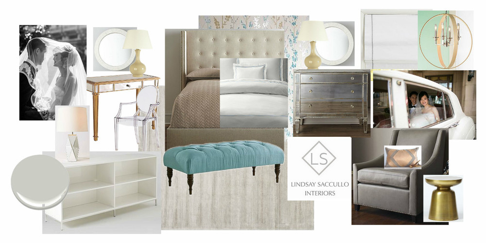 A Hollywood Glam Master Bedroom, Incorporating Client's Own Wedding Pictures