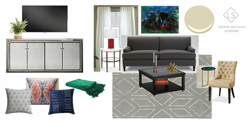A Transitional Living Space Incorporating Client's own Artwork.