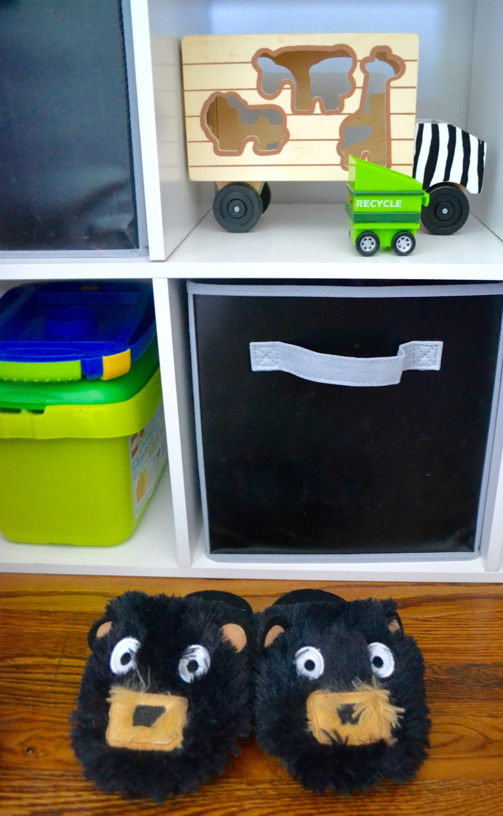 I'm obsessed with these erasable chalkboard storage bins - and these slippers.