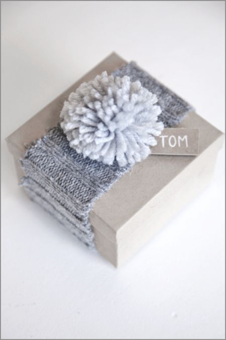 Sweater and Pom Pom Repurposing  via Boxwood Clippings