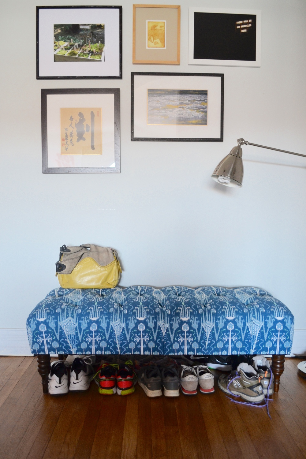 The bench was a One Kings Lane find and the floor lamp is Ikea.