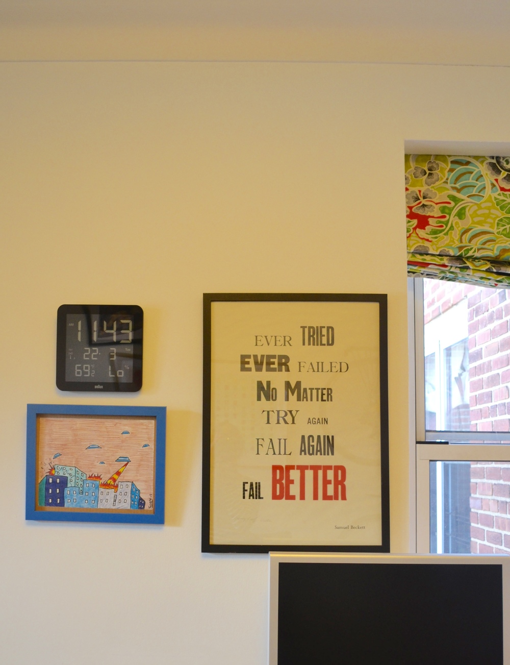 Fun art and window treatment by, you guessed it! Client Crafty.