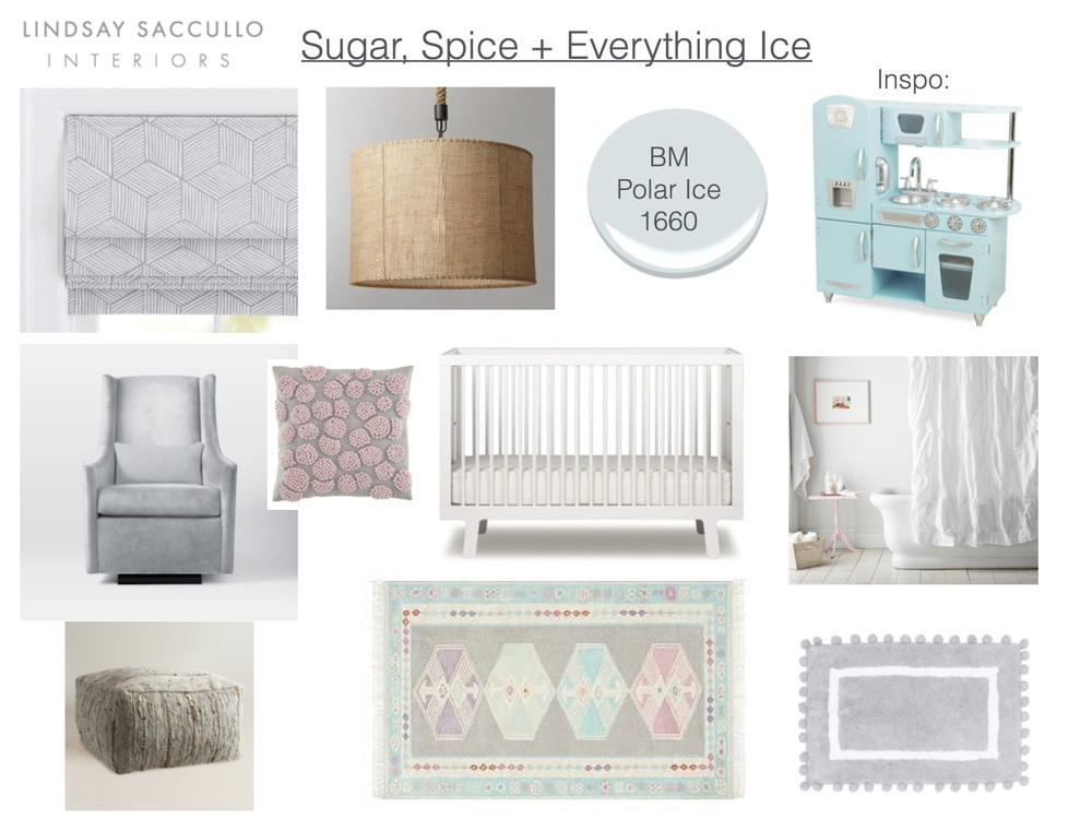 Grey Patterned Roman Shades  //  Burlap Ceiling Light  //  Benjamin Moore Polar Ice  //  Play Kitchen  //  Glider  // Existing Pillow (Land of Nod, discontinued)//  Crib  //  Shower Curtain  //  Pouf Ottoman  //  Area Rug  //  Pom Pom Bath Mat