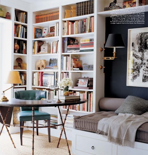 A more traditional daybed/library scenario via Halycon Style Blog