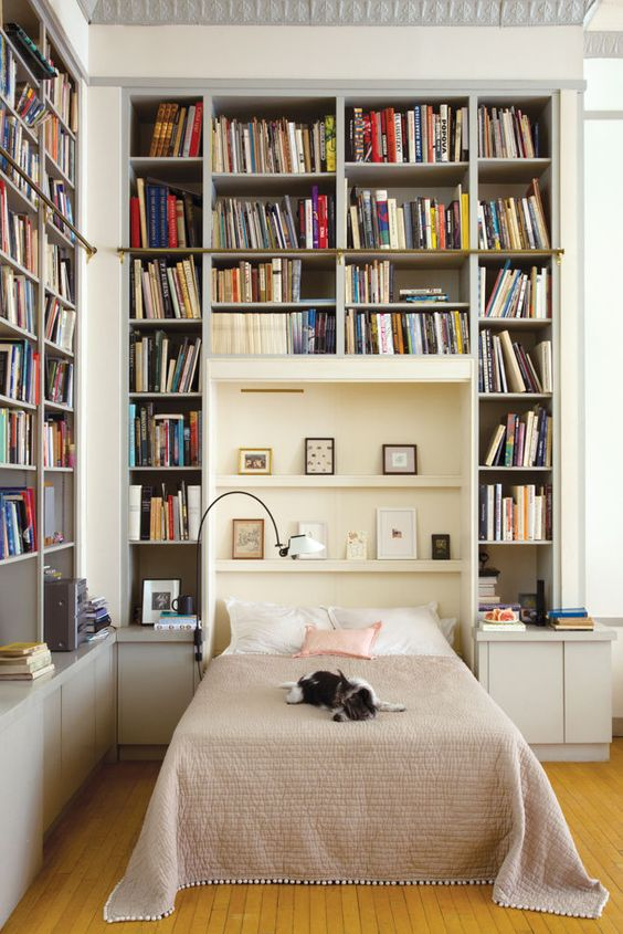And let's not forget about the genius of a Murphy Bed! This one is in artist Joana Avillez's Tribeca Loft. Photo via Domino.