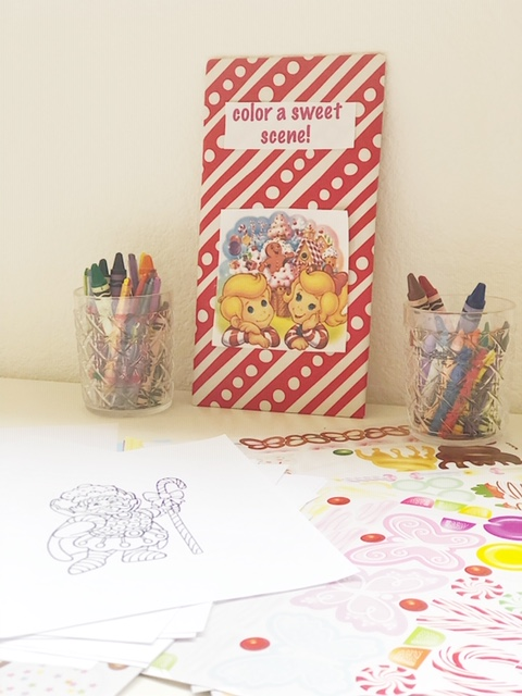 One of the activity stations - I simply google image searched candy land coloring scenes and printed them. I also got a Melissa and Doug sticker book that was a big hit!