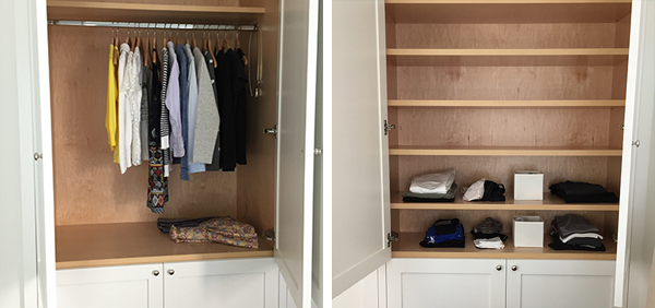 "(my finished closet and ""dresser""... the empty spaces are Greg's)"
