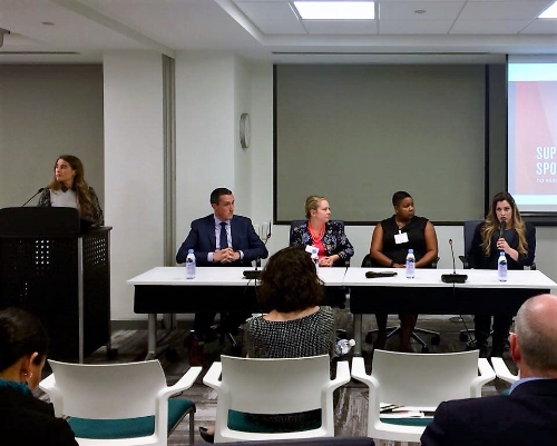 MSBHC Founder, Ingrid Yee sits on a panel discussing military spouse employment best practices in McLean, VA on November 9, 2017.