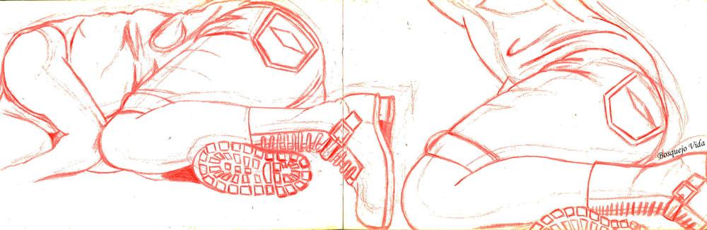 """Untitled"" Dangerous Games s    eries  by  Bosquejo Vida  . Red Pencil  , Paper.  Model: Lady D"