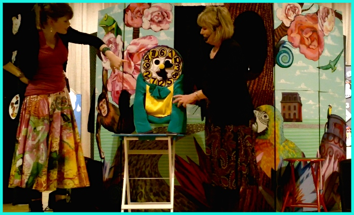 Helping Clyde the Clock Puppet w/daughter Merissa Morin at PS 262, Brooklyn