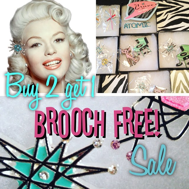 48 hour FLASH SALE! Buy any two brooches- get a third of equal or lesser value FREE!!!!!!! Christmas gifts anyone?! #thecraveyard #midcentury #midmod #pinup #vintage #brooch #brooches #1950s #1960s #retro #vlv #flashsale #atomica #noveltybrooch #noveltybroochfriday #jimflora #costumejewelry no code needed! Mention free choice in comments at checkout.