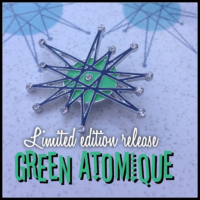 "4 years in the vault! Re-released limited edition brooch in ""Green with envy"". Now our classic ATOMIQUE is available in 4 color ways to mix and match. #thecraveyard #midcentury #midmod #pinup #vintage #brooch #brooches #1950s #1960s #retro #vlv #noveltybrooch #noveltybroocheveryday #franciscanstarburst #frankenstein #atomicmonster #tiki #universalmonsters"