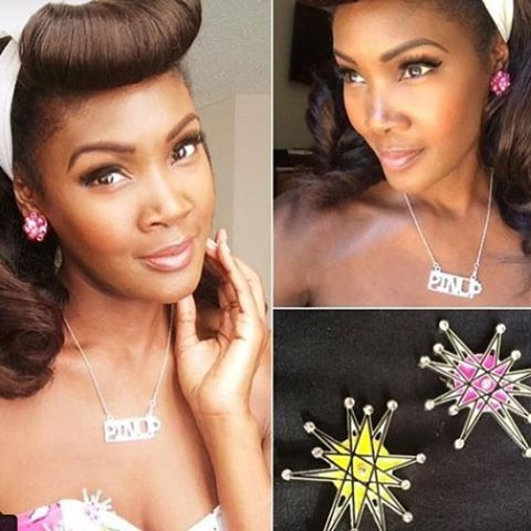 "Our atomique brooches and ""pinup"" rhinestone necklace on the gorgeous and equally sweet ms Angelique Noire @theblackpinup #thecraveyard #midcentury #midmod #pinup #vintage #brooch #brooches #1950s #1960s #retro #vlv #pinupgirlclothing #pug #blackpinup #franciscanstarburst #bumperbangs"