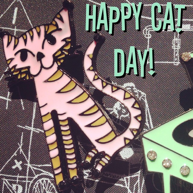 """HAPPY CAT DAY :) Shown here- our """"Cool Cat"""" brooch from our exclusive Jim Flora collection. #thecraveyard #midcentury #midmod #pinup #vintage #brooch #brooches #1950s #1960s #retro #vlv #jimflora #happyinternationalcatday #catday #aliceinwonderland #retrovintage #pastel #montrealdesigner #rcavictor #tiki #shag #tigress"""