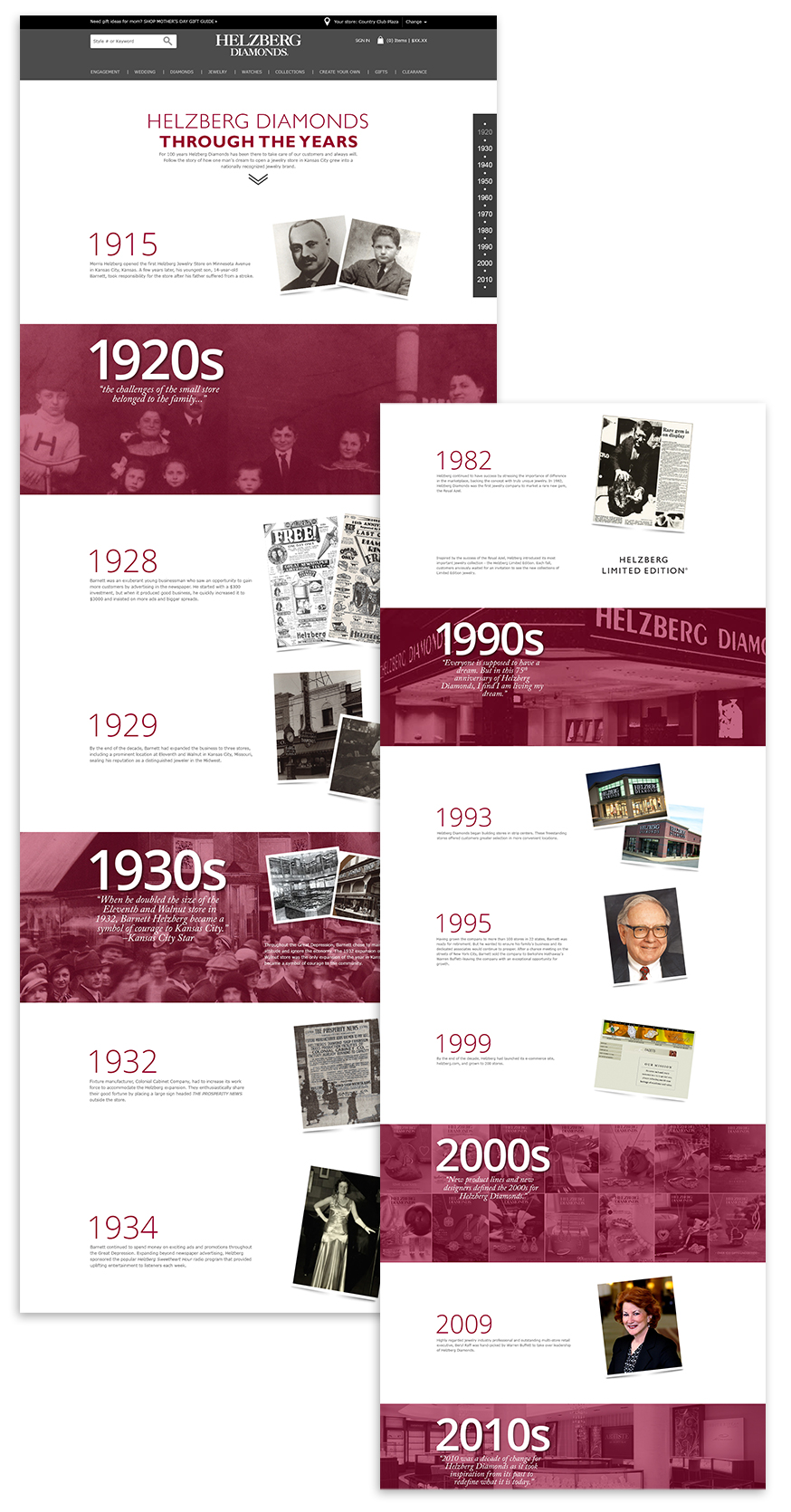 History Landing Page.  Click here  to view it live.  ©2017 Helzberg Diamonds® All Rights Reserved.