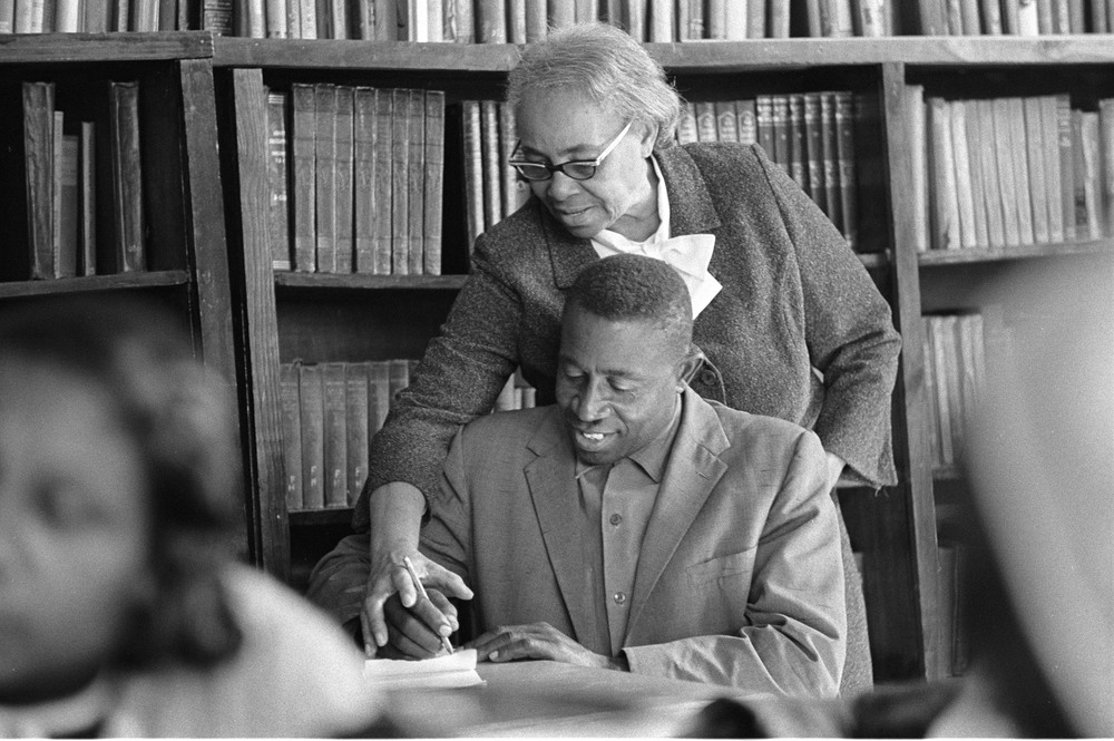 Septima Poinsette Clark, educator and activist, with student. Credit: Bob Fitch Photography Archive, © Department of Special Collections, Stanford University.