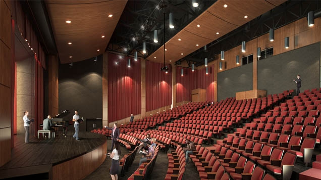 Artist rendering of completed St. Mary's College theatre