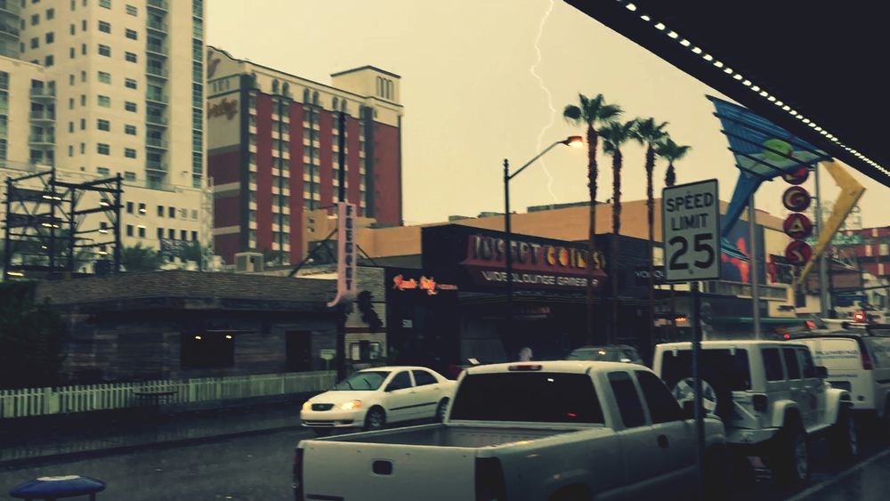 Not the best shot but that's a lightning bolt hitting El Cortez during a surprise desert storm.
