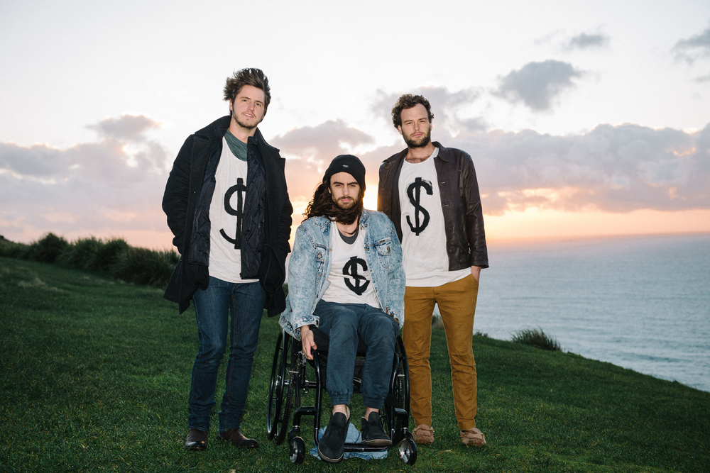 The Yours and Owls trio, from left, Adam Smith, Ben Tillman and Balunn Jones, shot for an Illawarra Mercury editorial piece last year (hence the vocal t-shirts).
