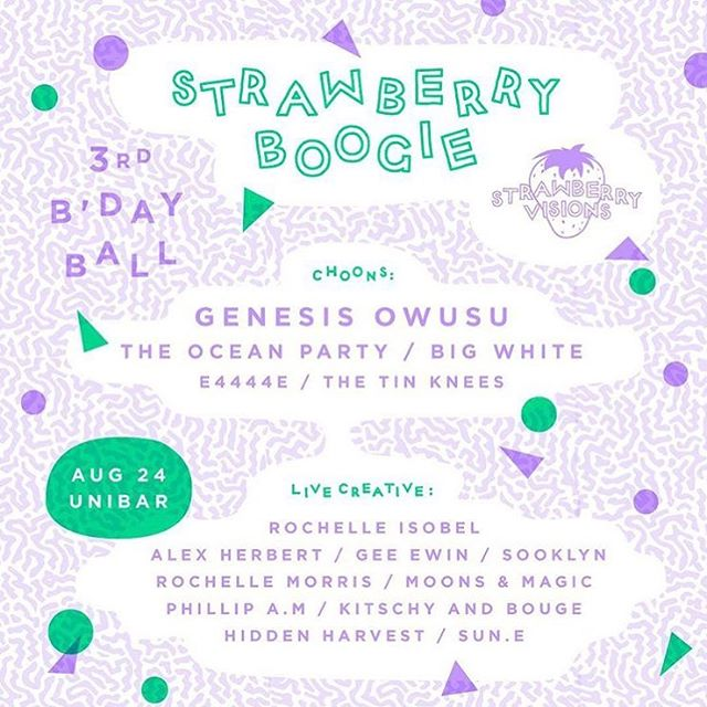 This Friday at strawberry boogie at @uowunibar @strawberry_visions great lineup feat @bigwhiteband @theoceanparty @genesisowusu