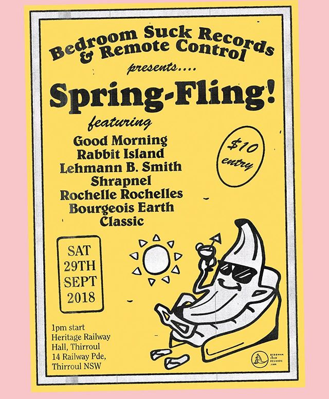 Sat 29 sept @bedroomsuckrecords have an event at the epic railway hotel in thirroul. Early start and feature a couple of our favourites good morning and @rabbit_island and Lehmann b. 10$ as well.