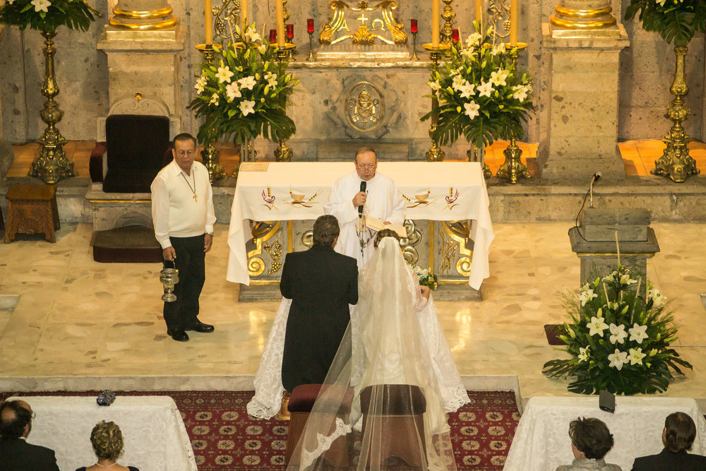 couple getting married on the church