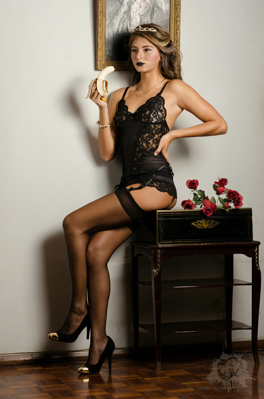 Editorial Portrait.  The princess wearing black lingerie